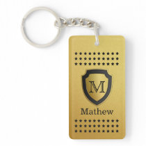 Black Gold Shield Monogram Name Star Pattern Manly Keychain