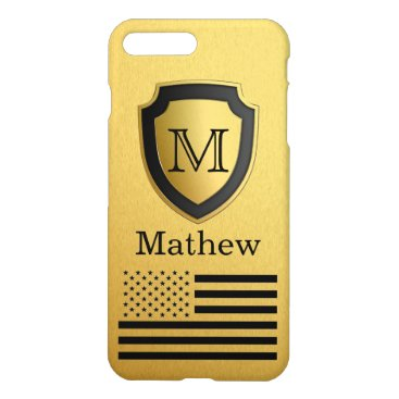 USA Themed Black Gold Shield USA Flag Monogram Name Manly iPhone 7 Plus Case