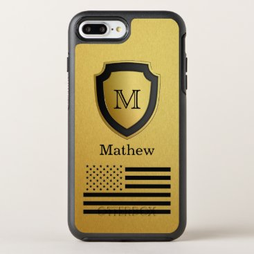 USA Themed Black Gold Shield USA Flag Monogram Name Manly OtterBox Symmetry iPhone 8 Plus/7 Plus Case