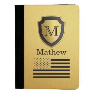 Black Gold Shield USA Flag Monogram Name Manly Padfolio