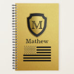 "Black Gold Shield USA Flag Monogram Name Manly Planner<br><div class=""desc"">Add your name and monogram to make your own unique product.</div>"