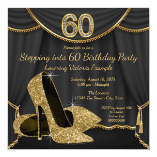 Black Gold Shoe Stepping into 60 Birthday Party Card