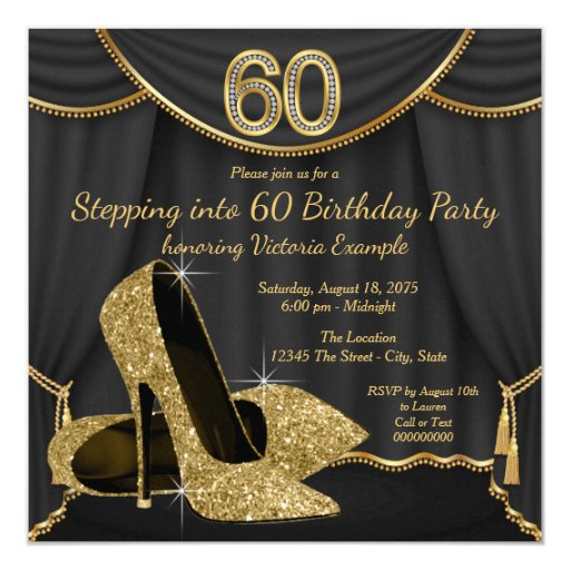 Black Gold Shoe Stepping into 60 Birthday Party Card | Zazzle