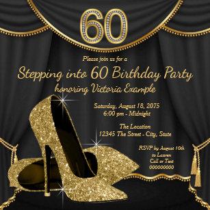 60th birthday invitations zazzle black gold shoe stepping into 60 birthday party invitation filmwisefo