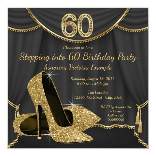 95f5af8666 Black Gold Shoe Stepping into 60 Birthday Party Invitation