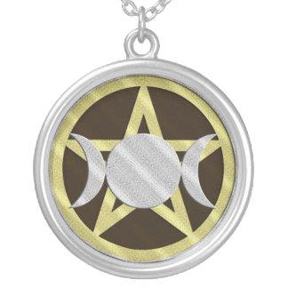 Black Gold Silver Pentagram Triple Goddess Custom Necklace