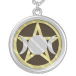 Black Gold Silver Pentagram Triple Goddess Round Pendant Necklace