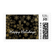 Black & Gold Snowflakes Christmas Holiday Postage