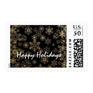 Black & Gold Snowflakes Christmas Holiday Postage