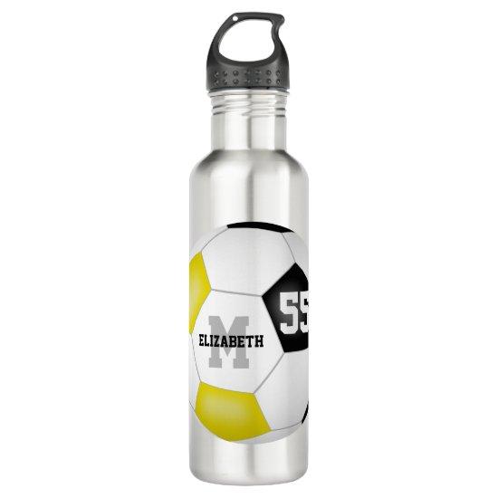 black gold soccer girl boy school team colors stainless steel water bottle