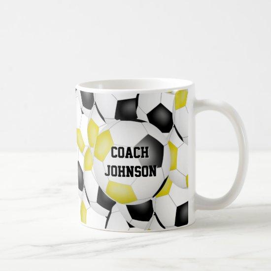 black gold soccer school team colors coach gift coffee mug