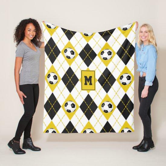 black gold soccer team colors argyle pattern fleece blanket