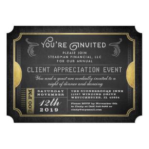 Appreciation invitations zazzle black gold sophisticate ticket corporate invite stopboris Images