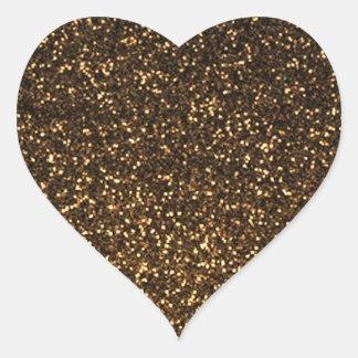 Black gold sparkly glitter heart sticker