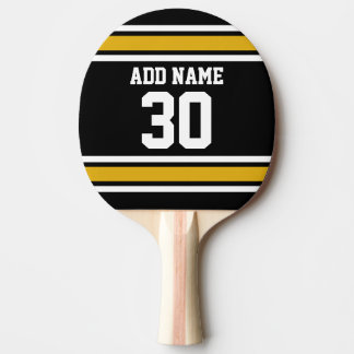 Black Gold Sports Jersey with Your Name and Number Ping-Pong Paddle