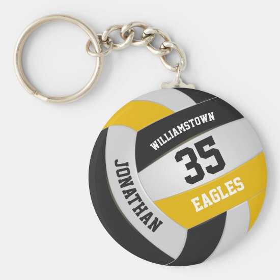 black gold sports team boys girls volleyball keychain