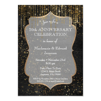 Black Gold Star Bling Anniversary Party Invitation