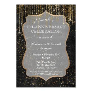 Black Gold Star Bling Anniversary Party Invitation
