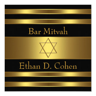 Black Gold Star of David Bar Mitzvah Card