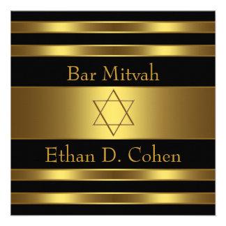 Black Gold Star of David Bar Mitzvah Custom Invitation