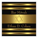 Black Gold Star of David Bar Mitzvah Invitation