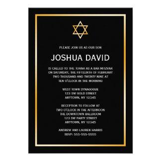 Black Gold Star of David Bar Mitzvah Invitations Custom Announcement