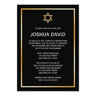Black Gold Star of David Bar Mitzvah Invitations