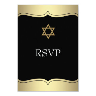 Black Gold Star of David Bar Mitzvah RSVP 3.5x5 Paper Invitation Card