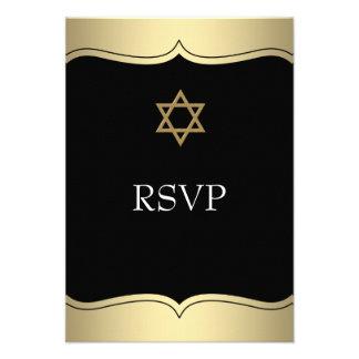Black Gold Star of David Bar Mitzvah RSVP Personalized Invites
