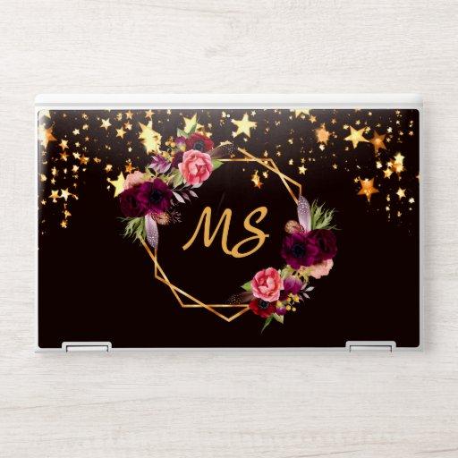 Black gold stars floral burgundy geo monogram HP laptop skin