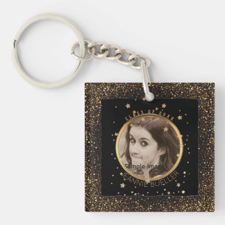 Black Gold Stars Graduation | Your Name Class of Keychain
