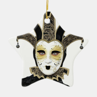 Black Gold Straight Venetian Carnivale Mask Ceramic Ornament