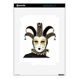 Black Gold Straight Venetian Carnivale Mask Decals For The iPad 2
