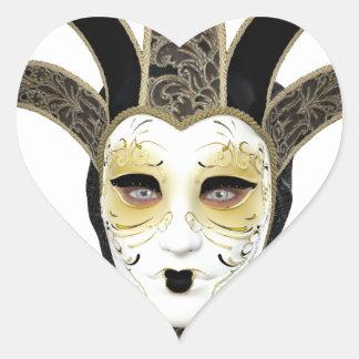 Black Gold Straight Venetian Carnivale Mask Heart Sticker