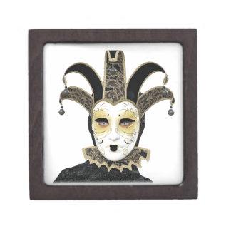 Black Gold Straight Venetian Carnivale Mask Jewelry Box