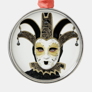Black Gold Straight Venetian Carnivale Mask Metal Ornament