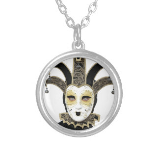 Black Gold Straight Venetian Carnivale Mask Silver Plated Necklace