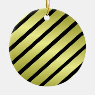 Black Gold Stripe Christmas Ornament