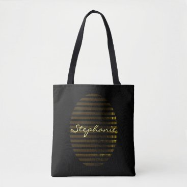 Professional Business Black Gold Stripe Distressed Name Business Tote