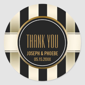 Black Gold Striped   Chic Wedding Favor Thank You Classic Round Sticker