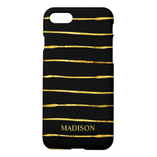 Black Gold Striped Elegant Zazzle iPhone 7 Case
