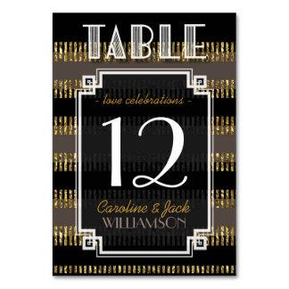 Black Gold Stripes + Art Deco Table Number Cards