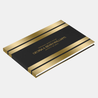 Black & Gold Stripes Border Guest Book