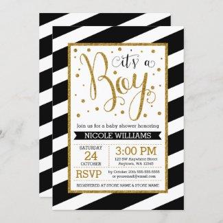 Black Gold Stripes Boy Baby Shower Invitations
