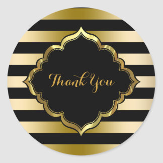 Black & Gold Stripes Thank You Sticker