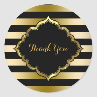 Black & Gold Stripes Thank You Sticker