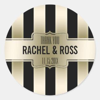 Black Gold Stripes   Wedding Favor Thank You Classic Round Sticker
