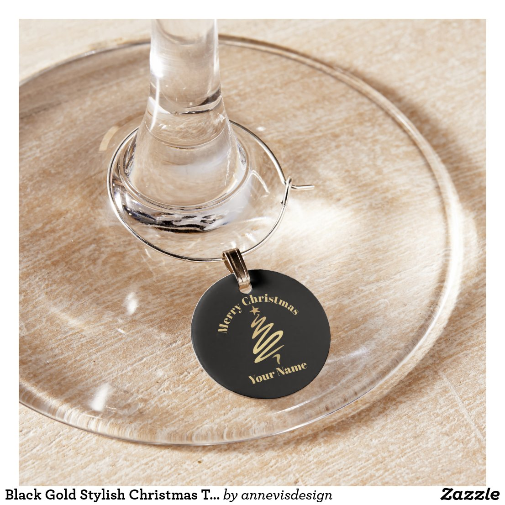 Black Gold Stylish Christmas Tree Wine Charm