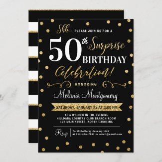 Black Gold Surprise Birthday Party Invitation