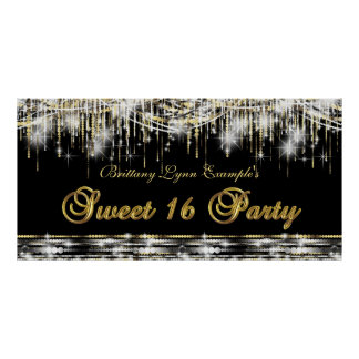 Black Gold Sweet 16 Birthday Party Banner Poster